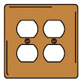 Bryant SBP82 Duplex Plate, 2-Gang, Standard, Brass Plated