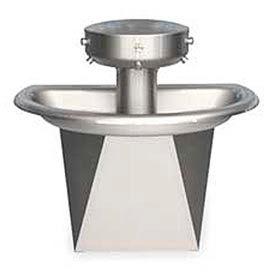 Bradley Wash Fountain, Semi-Circular, Off-line Vent, Series SN202, 3 Person