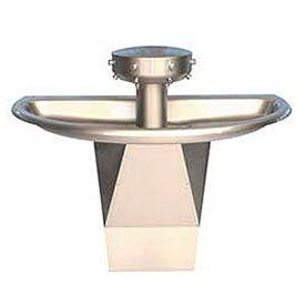 Bradley Wash Fountain, Semi-Circular, Raising Vent, Series SN202, 4 Person