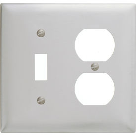 Bryant SS18 Toggle Duplex Combo Plate, 2-Gang, Standard, Satin Stainless