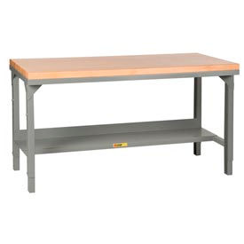 "Little Giant® 60""W x 30""D  Maple Butcher Block Square Edge Welded Workbench, Adjustable"