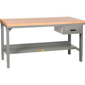 """Little Giant® 72""""W x 30""""D Maple Butcher Block Square Edge Workbench with Drawer, Adjustable"""