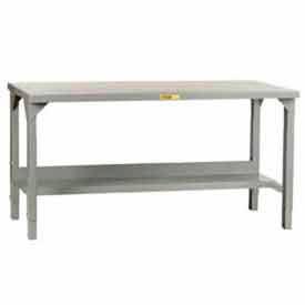 """Little Giant®  Adjustable Welded Workbench w/Open Base, Steel Square Edge Top 60""""W x 24""""D"""