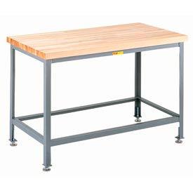 """Little Giant® 60""""W x 30""""D Maple Butcher Block Square Edge Top Table, Adjustable Leg"""