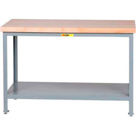 "Little Giant® 36""W x 24""D Maple Butcher Block Square Edge Top Table, Adj. Leg, Lower Shelf"