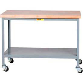 Little Giant®  Mobile Maple Top Table, Lower Shelf,  24 x 48