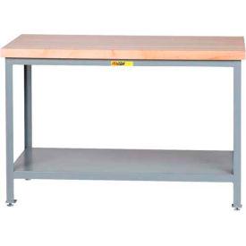 "Little Giant® 48""W x 24""D Maple Butcher Block Square Edge Top Table, Adj. Leg, Lower Shelf"