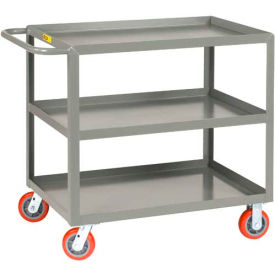 Little Giant All Welded Service Cart 3LGL-3060-6PY, 3 Lip Shelves, 30 x 60 2000 Lb. Cap. by