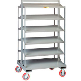 "Little Giant Sloped Shelf Bin Cart 6BC-3036-6PY - 60"" x 30"", Dual Sided, 36""L x 30""W x 66""H"