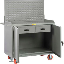 "Little Giant MB2D24482DRFLLP 48""W x 24""D Mobile Service Bench, 2 Drawers, Powder Coated Steel Top"