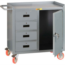 """Little Giant MC1D2436-4DRTL  36"""" W Mobile Bench Cabinet, 4 Drawers, 1 Door"""