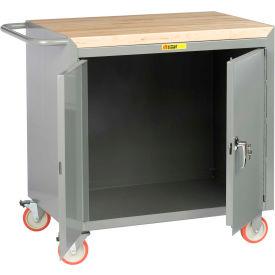 "Little Giant MCJ-2D-2436-TL  36"" W Mobile Bench Cabinet, 2 Doors, Butcher Block Top"