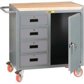 "Little Giant MCJ1D2436-4DRTL  36"" W Mobile Bench Cabinet, 4 Drawers, 1 Door, Butcher Block Top"