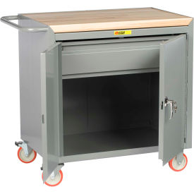 "Little Giant MCJ2D-2436-HDTL  36"" W Mobile Bench Cabinet, Drawer, 2 Doors, Butcher Block Top"