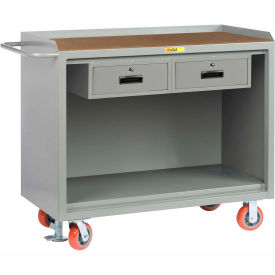 "Little Giant MH-2448-2DRFL   48"" W Mobile Bench Cabinets, Double Storage Drawers, Hardboard Top"