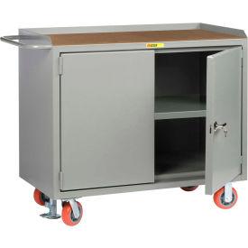 "Little Giant MH3-2D-2448-FL  48"" W Mobile Bench Cabinets, Center Shelf, 2 Locking Doors"