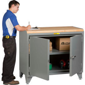 """Little Giant® Counter Height Bench Cabinet MH3-LL-2D-2448-48""""W x 24""""D Solid Doors Hardboard Top"""