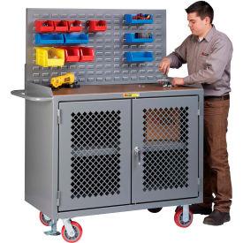 "Little Giant MHP3-2D-FL-LP 48""W x 24""D Mobile Service Bench, Center Shelf, 1/4"" Hardboard Top"