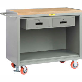 "Little Giant MJ-2448-2DRFL   48"" W Mobile Bench Cabinets, Double Storage Drawers, Butcher Block Top"