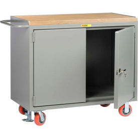 "Little Giant MJ-2D-2448-FL  48"" W Mobile Bench Cabinets,  Butcher Block Top, 2 Doors"