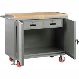 """Little Giant MJ2D-2448-2DRFL  48"""" W Mobile Bench Cabinets, Double Storage Drawers, 2 Doors"""