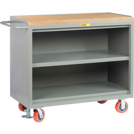 "Little Giant MJ3-2448-FL  48"" W Mobile Bench Cabinets, Center Shelf, Butcher Block Top"
