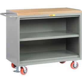 "Little Giant MJ3-2448-FL  48"" W Mobile Bench Cabinets, Center Shelf, Butcher Block Top"