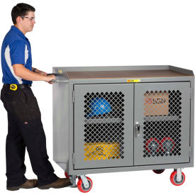 "Little Giant MJP2D-2448-FL  48"" W Mobile Bench Cabinets,  Butcher Block Top, 2 Clear View Doors"