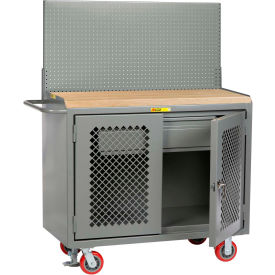 "Little Giant MJP2D-HDFL-PB 48""W x 24""D Mobile Service Bench, Pegboard Panel, HD Drawer"