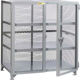 "Little Giant® Welded Storage Locker w/2 Center Shelves, Mesh Sides, 73""W x 33""D x 52""H"