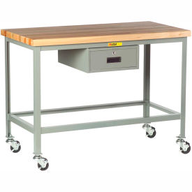 """Little Giant WT-3048-3R-DR Mobile Butcher Block Top Tables, 30"""" x 48"""", Drawer"""