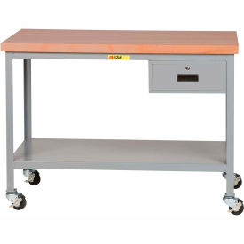 """Little Giant WTS-2424-3R-DR Mobile Butcher Block Top Tables, 24"""" x 24"""", 2 Shelf, Drawer"""