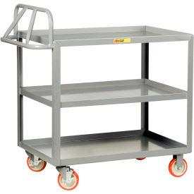 Little Giant® Ergonomic Welded Shelf Truck 3ERLGL-2436BRK, 3 Lip Shelves, 24 x 36