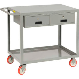 Little Giant® Service Cart LG-2436-BK-2DR, 2 Drawers, Flush Top, 24 x 36