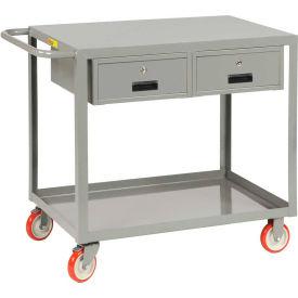 Little Giant® Service Cart LG-2436-BK-2DR, 2 Drawers, Flush Top, 24 x 36