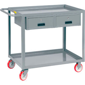 Little Giant Service Cart, 2 Drawers LGL-2436-BK-2DR, Lip Shelves, 24 x 36 by