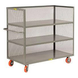 Little Giant® 3-Sided Truck T3-2448-6PY, 3 Shelves, Mesh Sides, 24 x 48