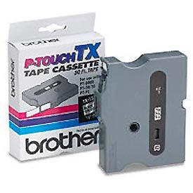 TX Series Tape Cartridge for PT-8000, PT-PC, PT-30/35, Black on White, 1/4 wide