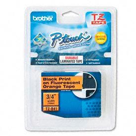 P-Touch Tape Cartridge, TZ Stand Laminate Tape, Black/Fluorescent Orange, 3/4W