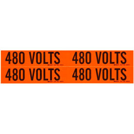 "Brady® 44215 Voltage Label, 480 Volts, 1-1/8"" X 4-1/8"", Orange/Black, 4 Labels/Card"