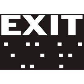 "Brady® 70115 Braille Exit Sign, Black/White, Plastic, 8""W x 2""H"