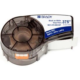 """Brady BMP21 Series Indoor-Outdoor Industrial Vinyl Labels, 3-8""""W X 21'L, Blk-Wht, M21-375-595-WT"""