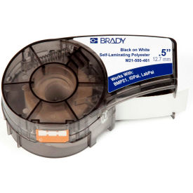 "Brady BMP21 Series Self-Laminating Polyester Labels, 1-2""W X 21'L, Black-White, M21-500-461"