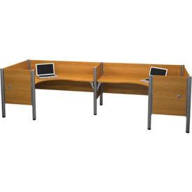"Pro-Biz Double Back to Back L-Desk Workstation w/ End Panels - Capp. Cherry 43""H"