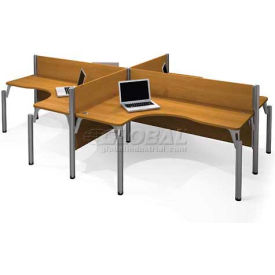 "Pro-Biz Four L-shaped Workstation in Cappuccino Cherry 43""H"