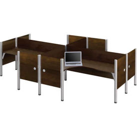 """Pro-Biz Four L-shaped Workstation w/ End Panels in Chocolate 43""""H"""