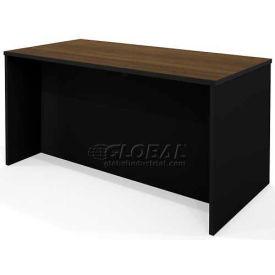 Bestar® Pro-Concept Executive Desk in Milk Chocolate Bamboo & Black