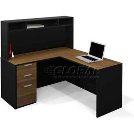 Bestar® Pro-Concept L-Workstation with Small Hutch in Milk Chocolate Bamboo & Black