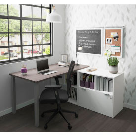 Bestar® L-Desk with One File Drawer - Bark Gray and White - i3 Plus Series