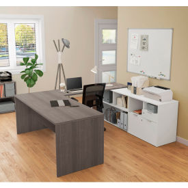 Bestar® U-Desk with Two Drawers - Bark Gray and White - i3 Plus Series